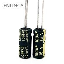 20pcs/lot Q10 100uf16V  aluminum electrolytic capacitor size 5*11 16V 100uf 20%