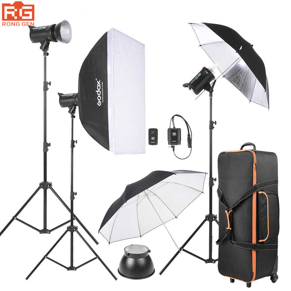 Godox DE300-D 300WS Photo Studio Kit Strobe Flash Light fotografi lampu Kit dengan Berdiri + Softbox + Payung + Flash pemicu