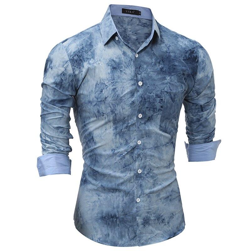 Mens font b Shirt b font 2017 Fashion Camisas Long Sleeve Personalized Printing Camisetas New Brand
