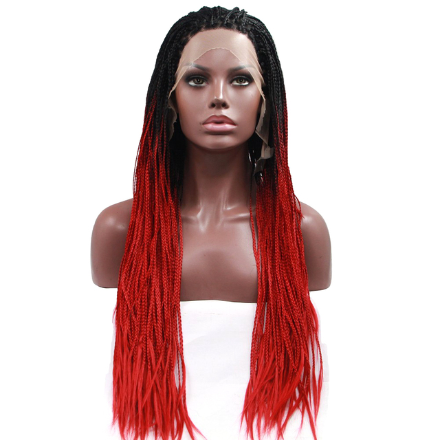 Ombre Braided Hair Red Wig Lace Front Wig Afro America Braiding Hair For Box Braids Twist Dreadlock Crochet Cosplay Lace Frontal