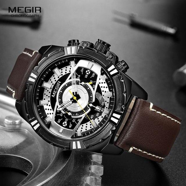 MEGIR Mens Chronograph Sport Quartz Watches Leather Strap Top Brand Luxury Army Wristwatch Relogios Masculino Clock 2118 Black