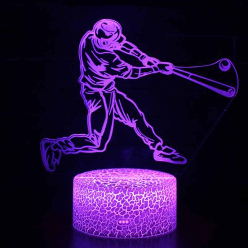 Sport series ice hockey theme 3D โคมไฟ LED light night 7 เปลี่ยนสีสัมผัสอารมณ์คริสต์มาส Dropshippping