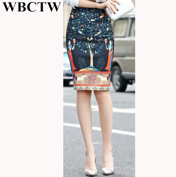 8d448855e9 African Print Skirt High Waist Knee Length Back Open Slide Jupe Femme 2017  New Linen Cotton XXS-7XL Plus Size Pencil Skirts