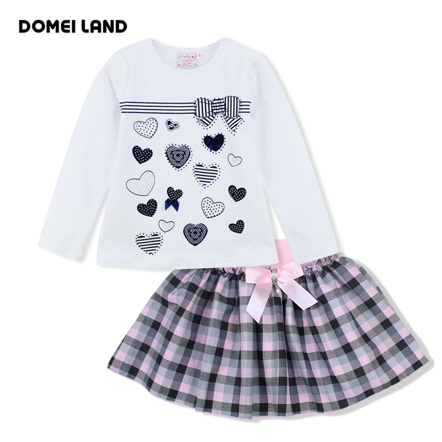 2016 Мода зима детская брендовая одежда Костюмы Устанавливает Дети Девушка печати сердце Рубашки хлопка лук плед юбки одежда костюмы