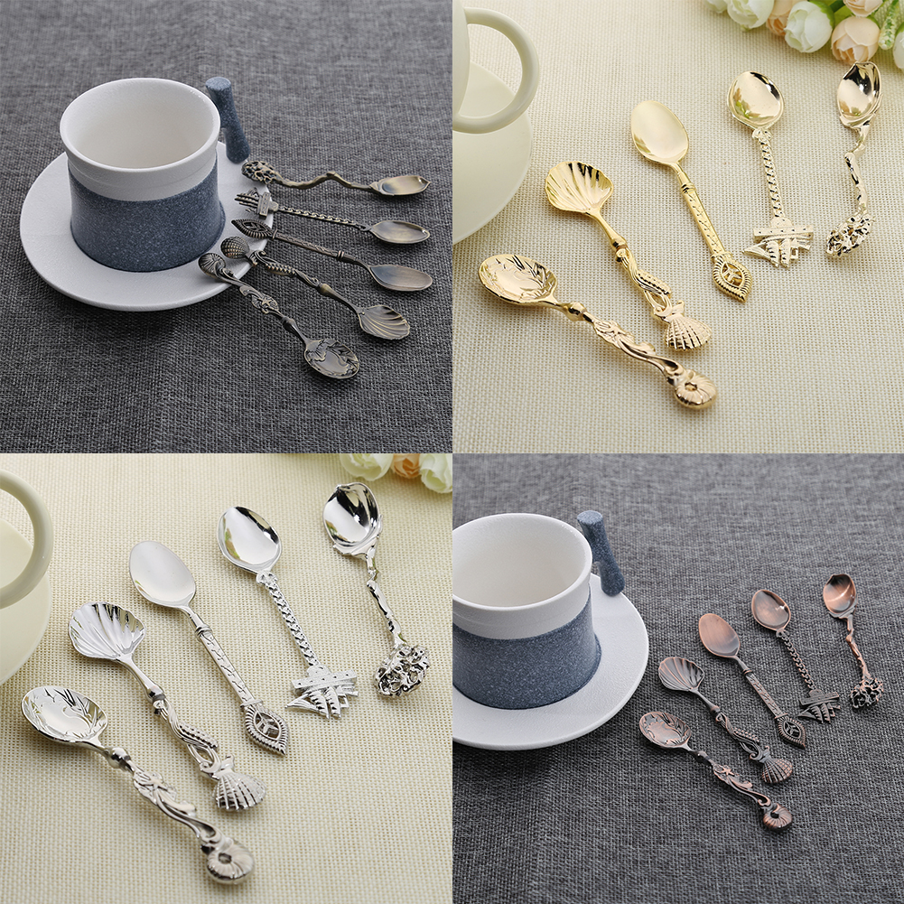 5PCS Hot Sale Vintage Royal Style Bronze Carved Small Coffee Spoons Mini Dessert Spoon Cutlery for Kitchen Dining Bar