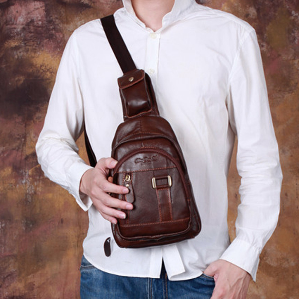 100% Genuine Leather Cowhide Men Rucksack Messenger Shoulder Cross Body Bags Travel Retro Male Sing Chest Bag Travel Back Pack цены онлайн