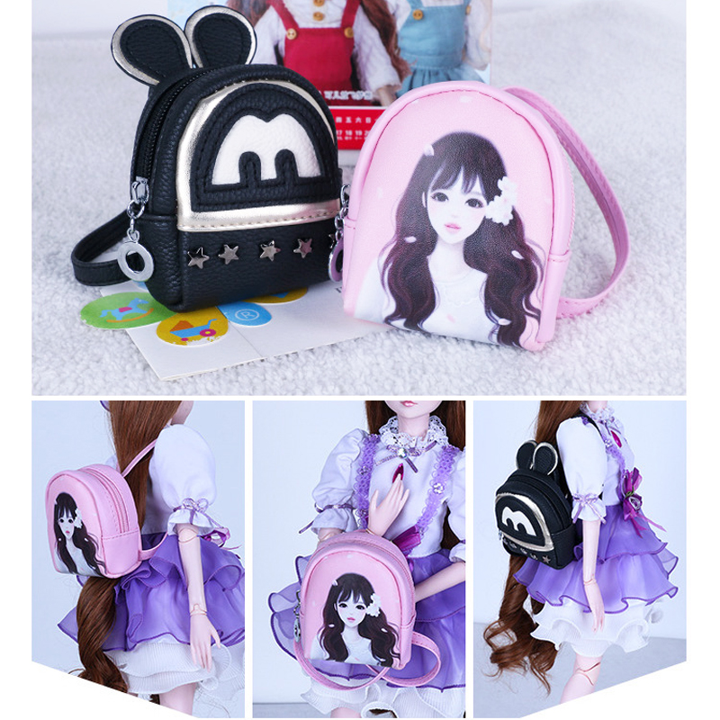 Mini Backpack For Bjd 1/3 Dolls Toy PU Bags For 45-60cm Dolls Accessories For Girl Dolls Kids Toys For Children