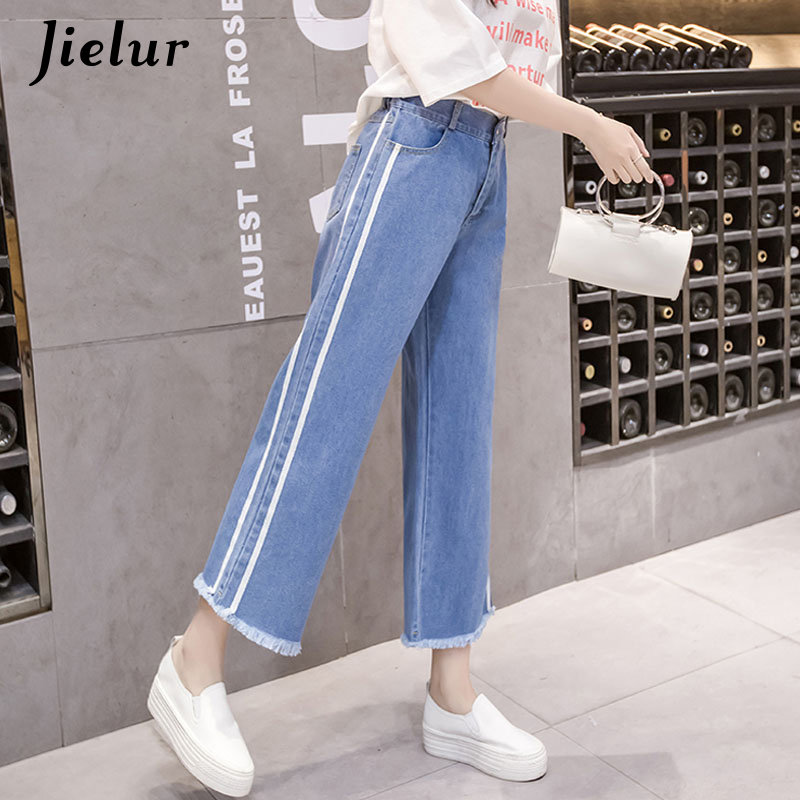 Jielur Korean New Tassel S-5XL High Waist   Jeans   Blue Side Stripe Plus Size Feminino   Jeans   Boyfriend   Jeans   for Women Dropshipping