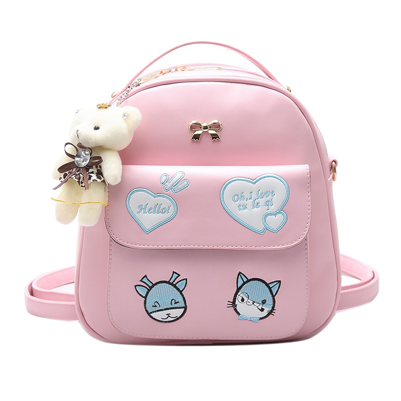 Korean version Japanese fashion Leisure cute cartoo embroidery cat Wild Small fresh pink bag Cartoon travel woman PU backpack travel tale fashion cat and dog capsule pet cartoon bag hand held portable package backpack