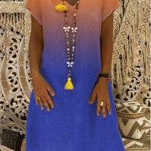 2019 new large size dress gradient fashion printed short-sleeved V-neck female