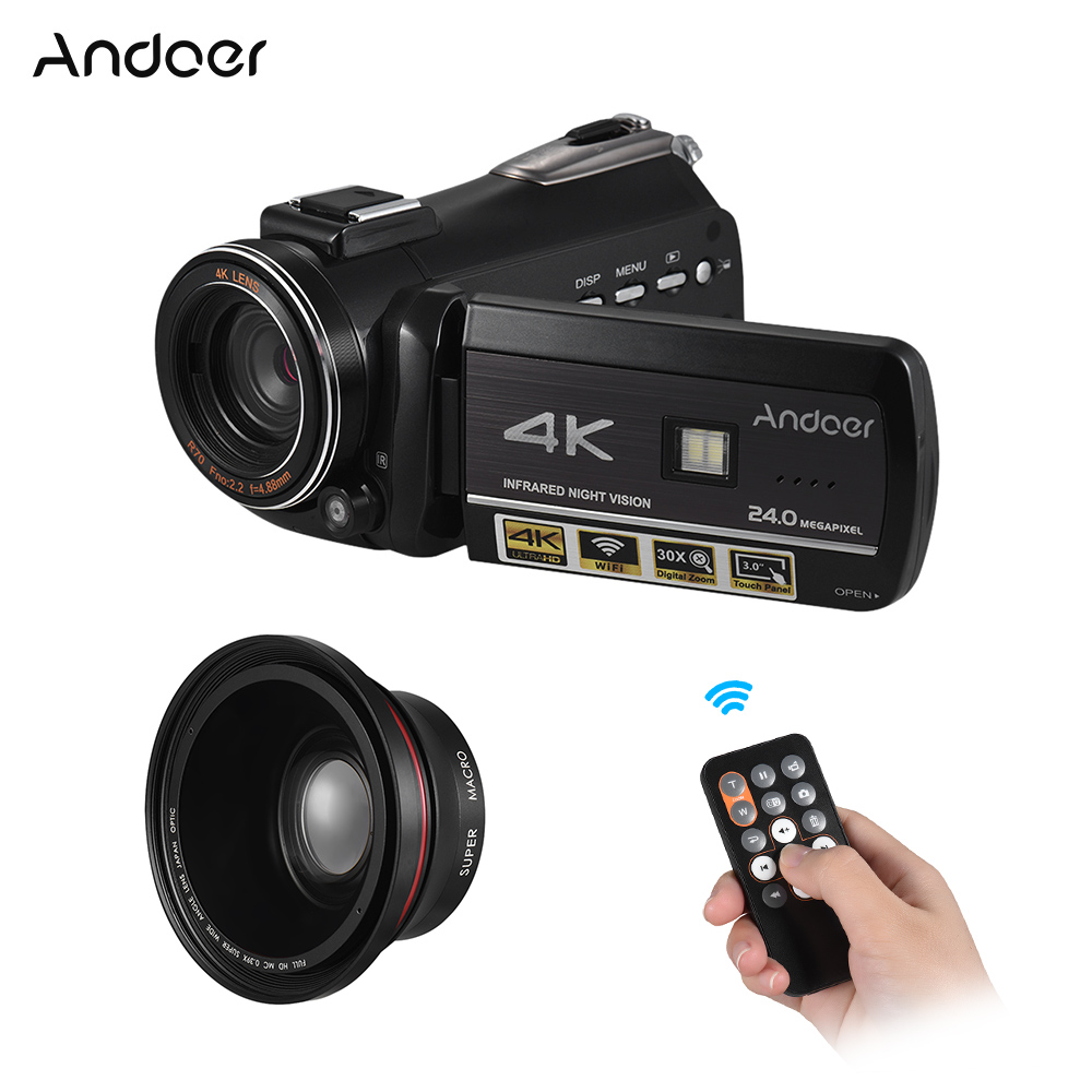 Andoer AC3 Camera Digital Video Camera LCD Touchscreen Hot Shoe Mount with 2pcs Batteries 0 39X