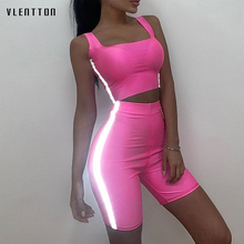 2019 New Sexy 2piece set women Vest Top And Shorts Casual tracksuit Spring summer Reflective Slim sweat suit