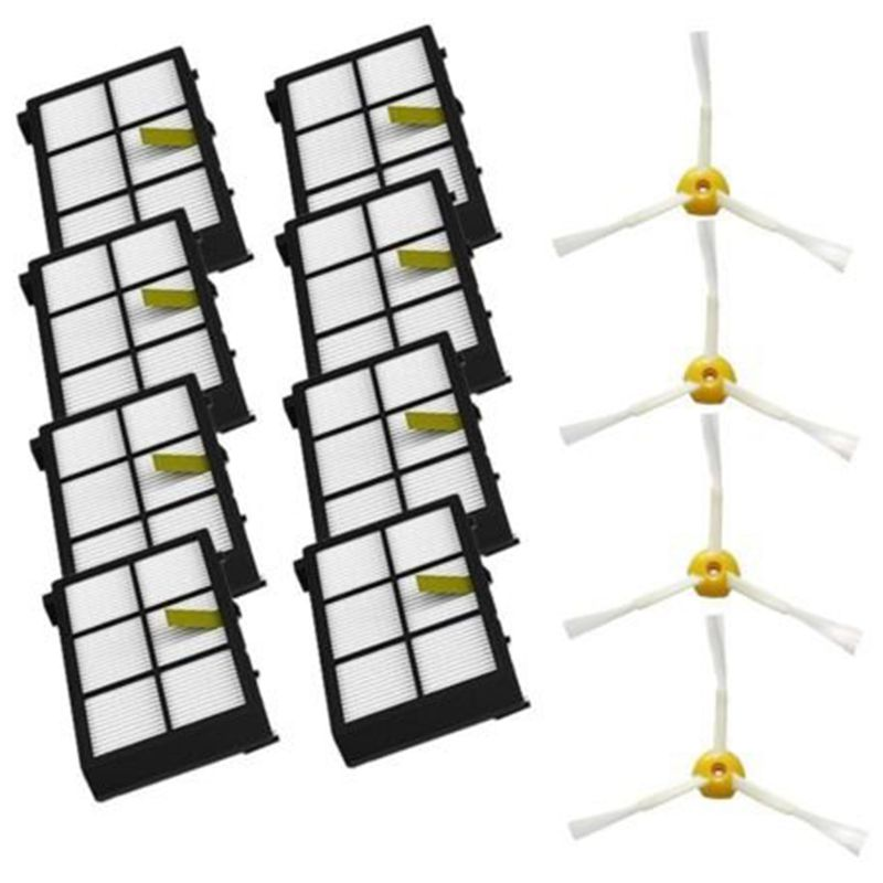 Side Brushes + Hepa Filters Replacement Parts For iRobot Roomba 800 900 Series 805 860 880 890 980 960 870 871 Vacuum Cleaner 14pcs lot tangle free debris extractor replacement kit for irobot roomba 800 900 series 870 880 980 vacuum robots accessory pa