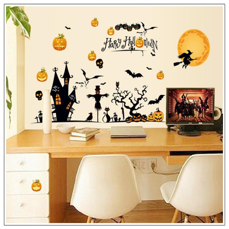 2017Hot Sale New Halloween Pumpkin head owl cat horror skull Witch Gift Removable Wall Stickers Art Party Decal Mural Room Pap