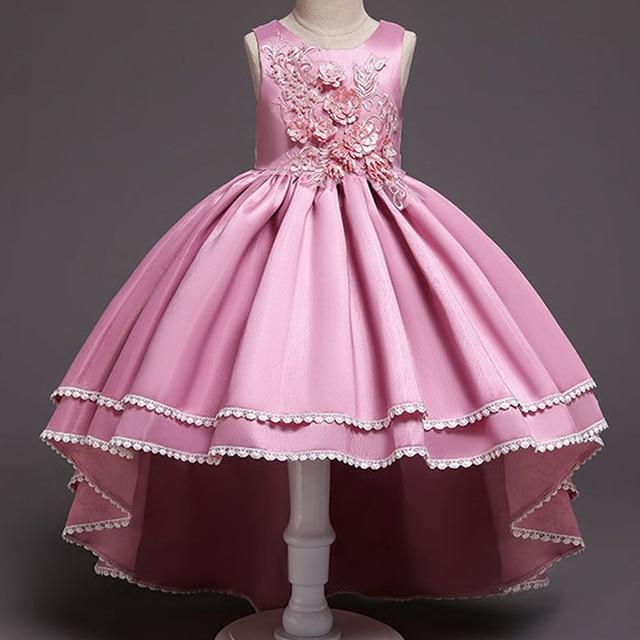 פרח ילדה שמלת מסיבת חתונת יום הולדת תלבושות ביצועים Elegent רקמת ילדים של בנות הקודש שמלות