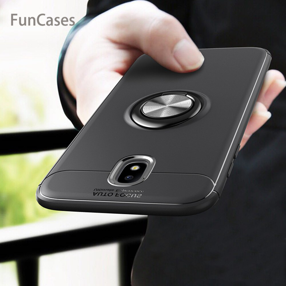 For Samsung Galaxy J3 J5 <font><b>J7</b></font> Pro <font><b>2017</b></font> Case Cover Colorful Metal Magnetic Ring Holder Soft Silicone Luxury Case for J330 J530 J730 image
