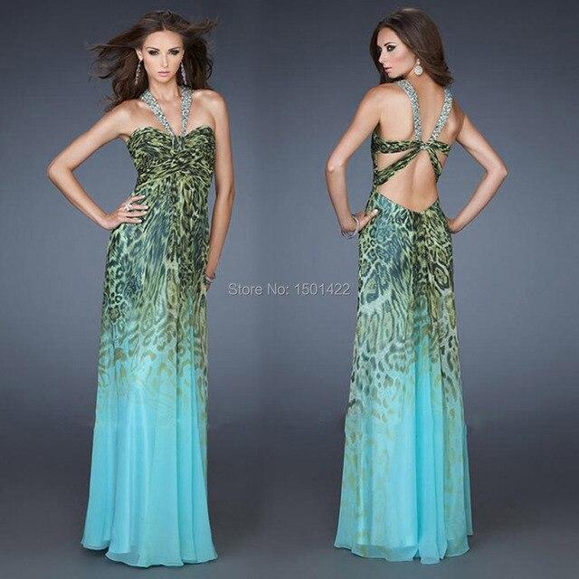 2015 Stunning Ombre Leopard Print Chiffon Prom dress Backless Halter ...