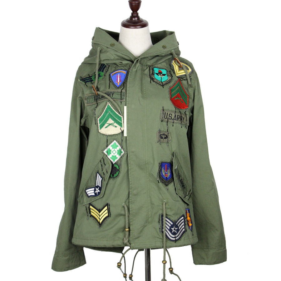 Spring jacket women new army green embroidery badge