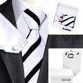 2016 Nova Mens Ties Branco Gravata de Seda Lenço Botão de Punho Da Novidade Presente Saco de box Set B-1135 Populares Laços Para Homens de Negócios Do Casamento Do Partido