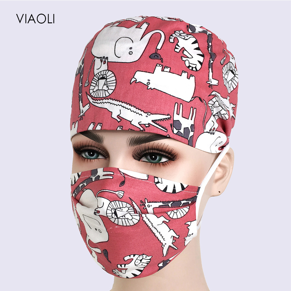 Print Doctor Surgical Scrub Cap For Women Hospital Medical Cap Cotton Lab Clinic Dental Operation Tieback Doctor Nurse Hat Mask