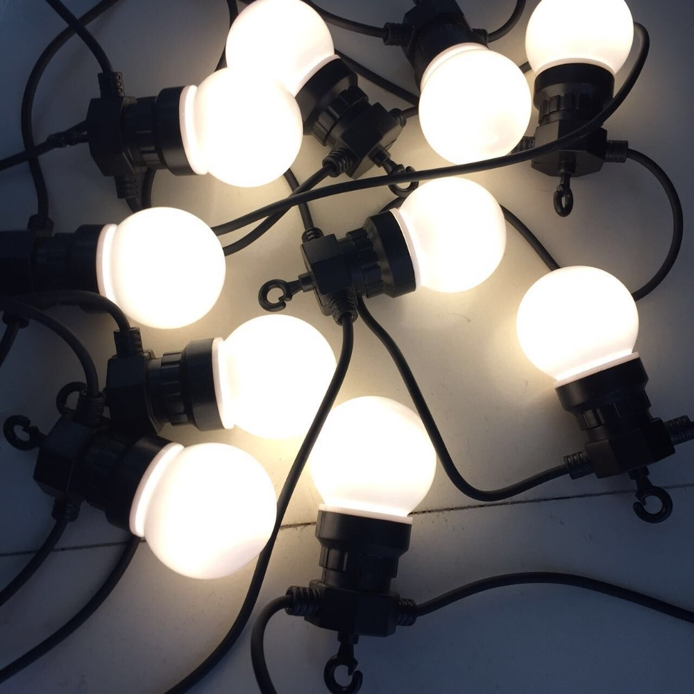 33ft 10M Globe String Light With 20 Clear Milky Bulbs Connectable Vintage Festoon Ball String Light