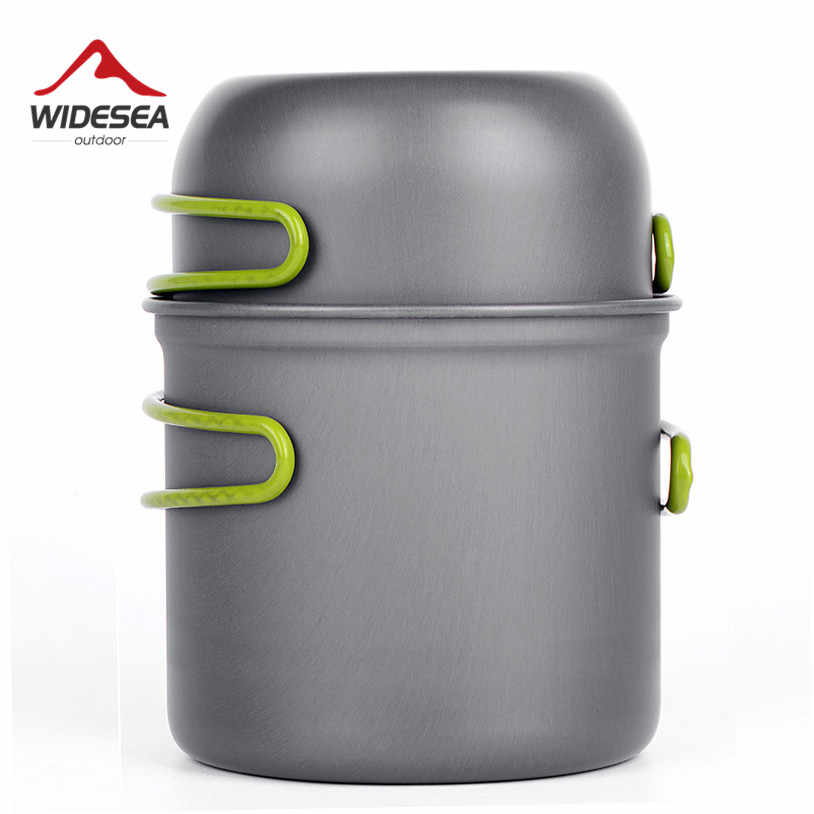 Ultralight Camping Cookware Peralatan Outdoor Tableware Set Hiking Piknik Backpacking Camping Tableware Pot Pan 1-2persons