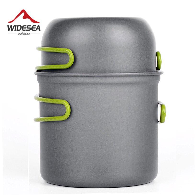Ultra-léger Camping Ustensiles de Cuisine Ustensiles de table en plein air mis Randonnée Pique-Nique Randonnée Camping Vaisselle Pot Pan 1-2persons
