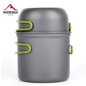 초경량 캠핑 조리기구 용품 야외 식기 세트 하이킹 피크닉 배낭 여행 캠핑 식기 냄비 팬 1-2 명