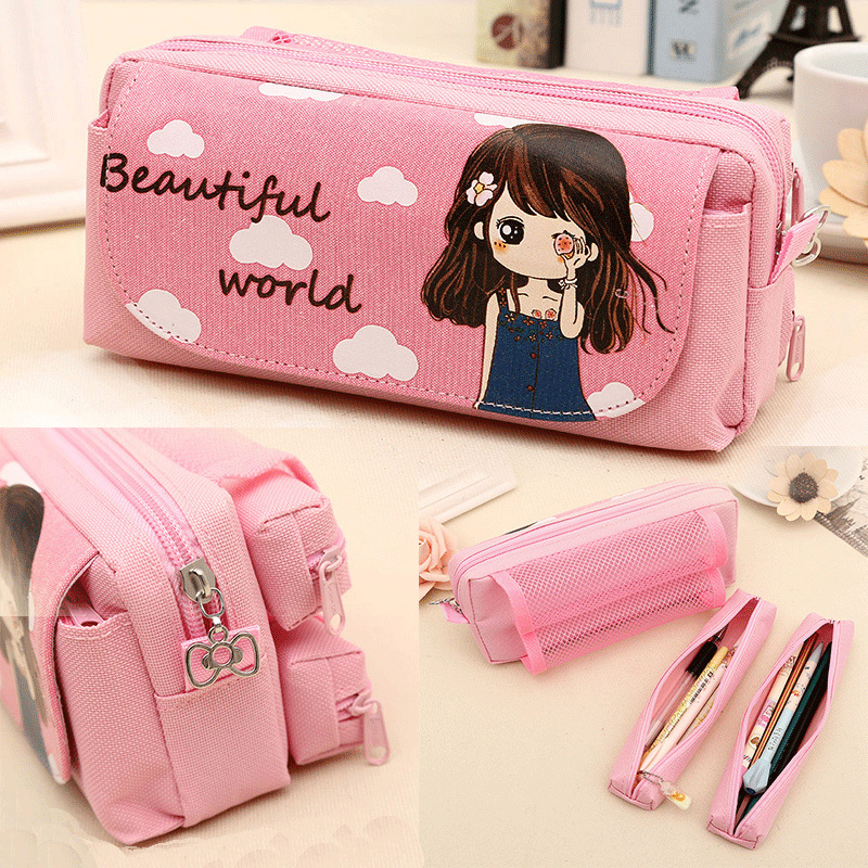 Kawaii School Bag Cute Sweet Girl Pink Pencil Case Large Capacity Student Kids Gift Anime Cloth Cosmetic Bag Stationery Supplies new cute beautiful world canvas pencil case kawaii kids girl pencil bag pen bag pouch student school supplies stationery gifts