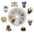 8pcs/wheel Hot Halloween part nail art decoration skull spider web pumpkin charms wheel set YX152