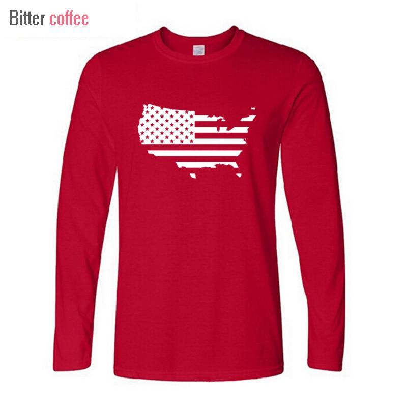 Новый Географические карты Америки Флаг США Забавный Печать футболки Для мужчин с длинны ...