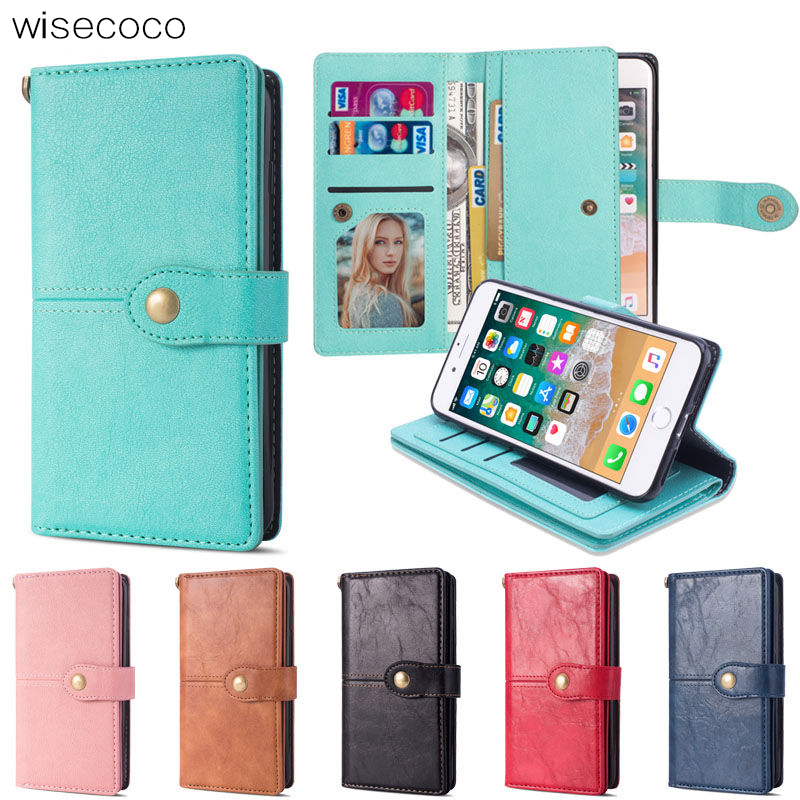 For Telefoon Hoesjes iphone 7 8 Case Luxury Holder Phone Cover Coque iphone 7plus 8plus Case Leather Vintage Flip Wallet Cover