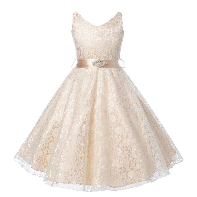 Princess Girl Dress fashion Baby Girls Lace Flower Party Dress Gown Formal Wedding kids Dresses  High Quality Birthday Clothing new 2016 fshion flower girl dress kids clothing party wedding birthday girls dresses baby girl white pink rose dress