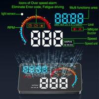 D2000 4 Inch Universal Car HUD A8 Car Head Up Display OBD2 OBDII Meter Speed Warning LED Display Over Speed Car Alarm