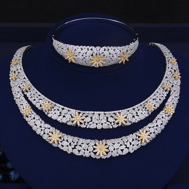 Luxury Double Layers Cubic Zirconia Crystal Jewelry Set 5