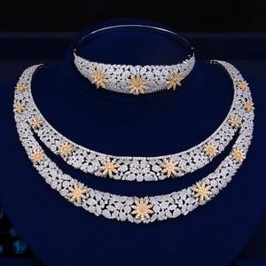 Image 5 - GODKI Luxury Double Layers Nigerian Bridal Jewelry Sets For Women Cubic Zirconia Crystal CZ Dubai Indian Gold  jewelry Sets 2018