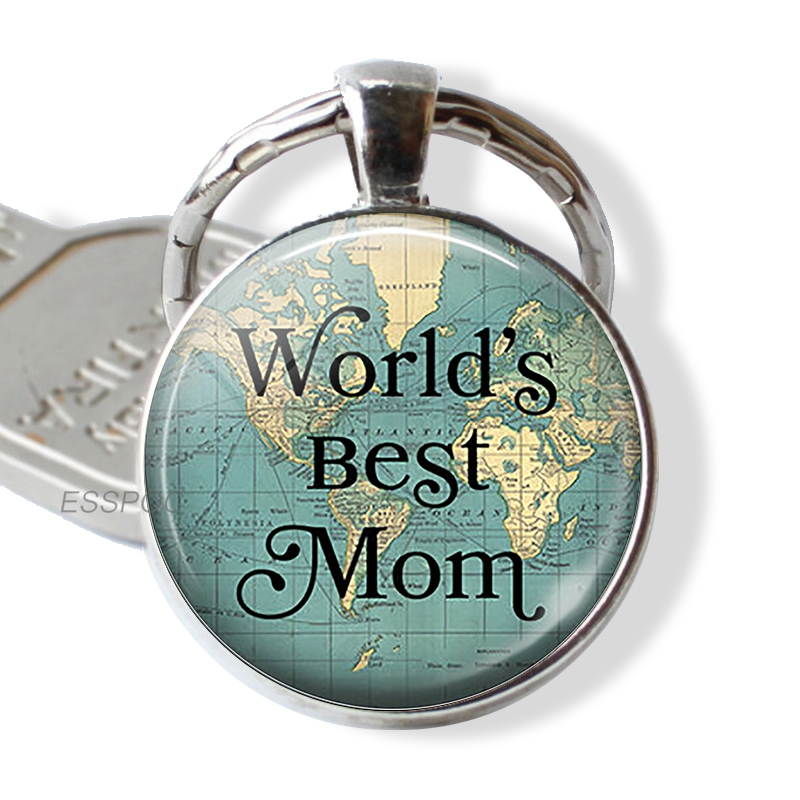 World's Best Mom Quote Key Chain Car Keychain Kering Mother's Day Jewelry Gift For Mom