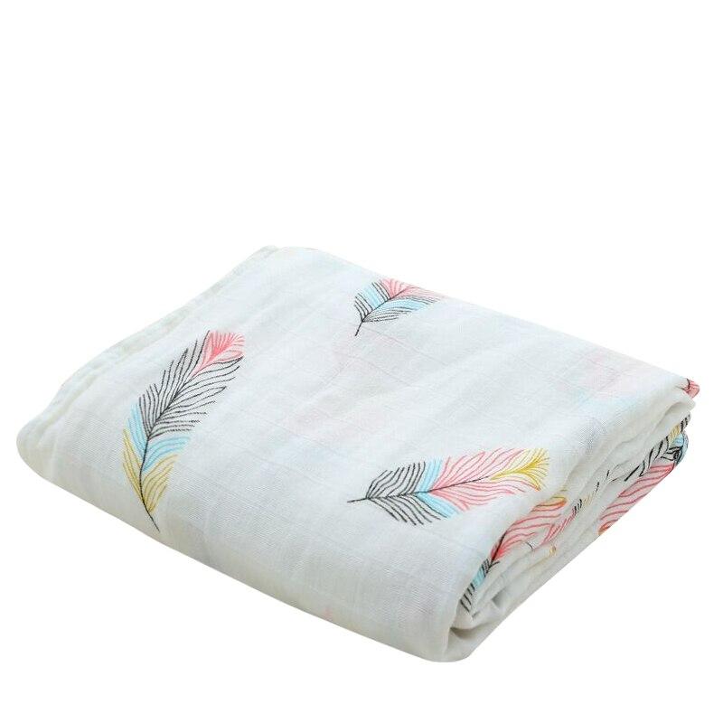 Bambú algodón suave bebé Swaddle pluma sirena patrón muselina envoltura bebé Bebé Ropa de cama muselina manta de bebé para recién nacido