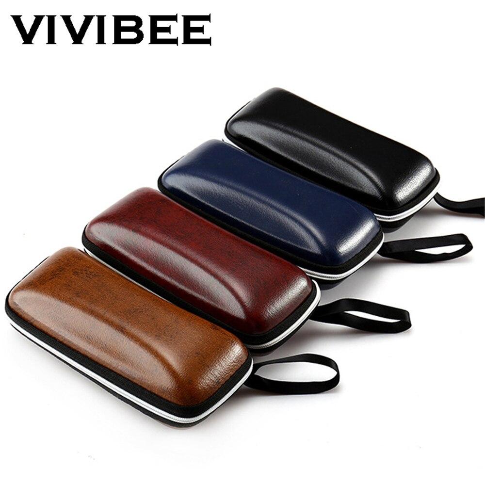 VIVIBEE Men Black PU Leather Sunglasses Case Zipper Waterproof Sun Glasses Eyewear Storage Men Eyeglasses Genuine Spectacle Box