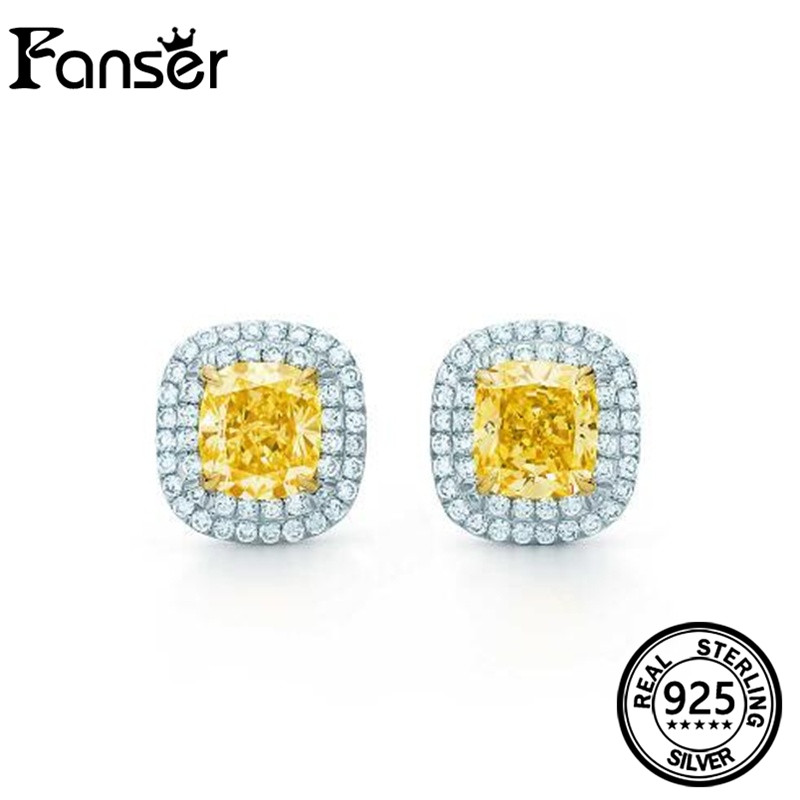 FANSER Yellow Princess Diamond Earrings embedded in White Crystal Sterling Silver 925 elegant jewelry TIF original LOGO ...