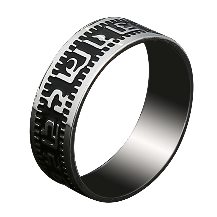 Meetcute Six Words Mantra Titanium Steel Mens Rings For Men Retro Personalized Single Index Finger Domineering Ring Man Jewelry