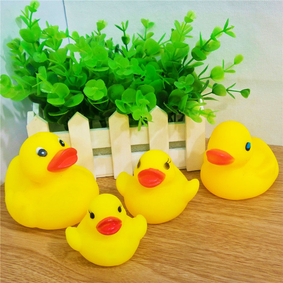 4 Size Lovely Yellow Duck Baby Bathing Toys Magic Pretty Sounds Rubber Ducks Kids Swiming Gifts Sand Play Water Fun - LANYUNER Daily Necessities & Party Supplies Store store