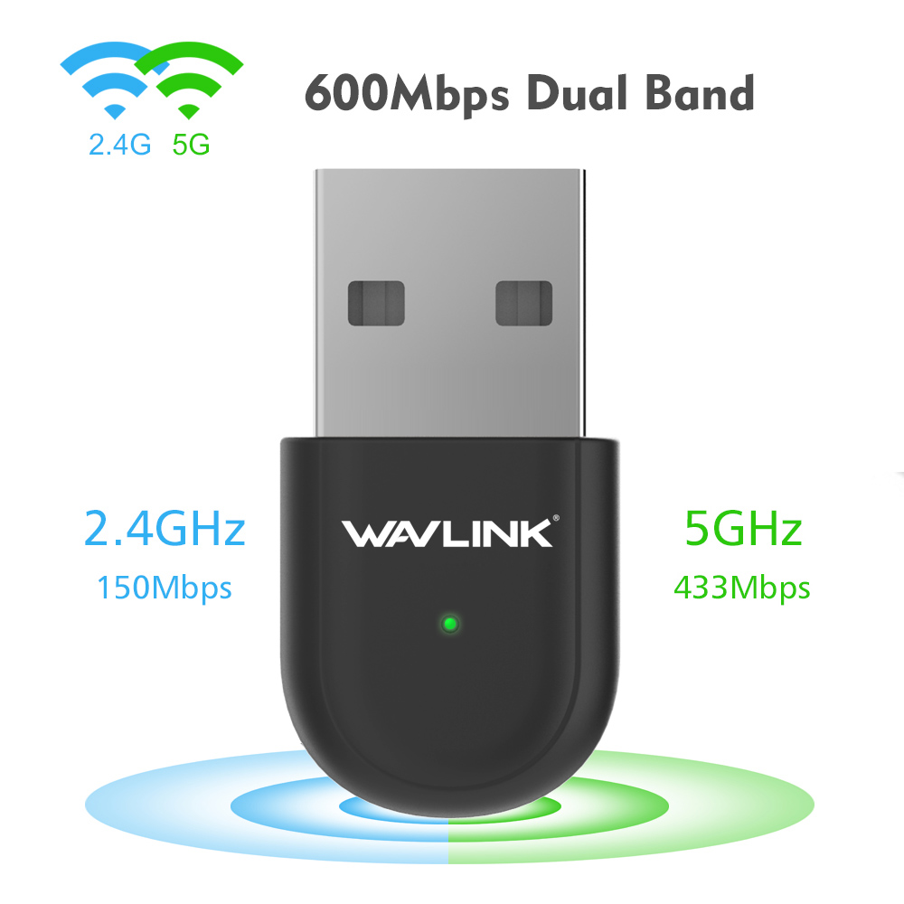 Wavlink USB Wireless Wifi Adapter AC600 802.11ac/802.11a/b/g/n Dual Band 5ghz/2.4ghz ethernet adapter Network Card for PC Laptop