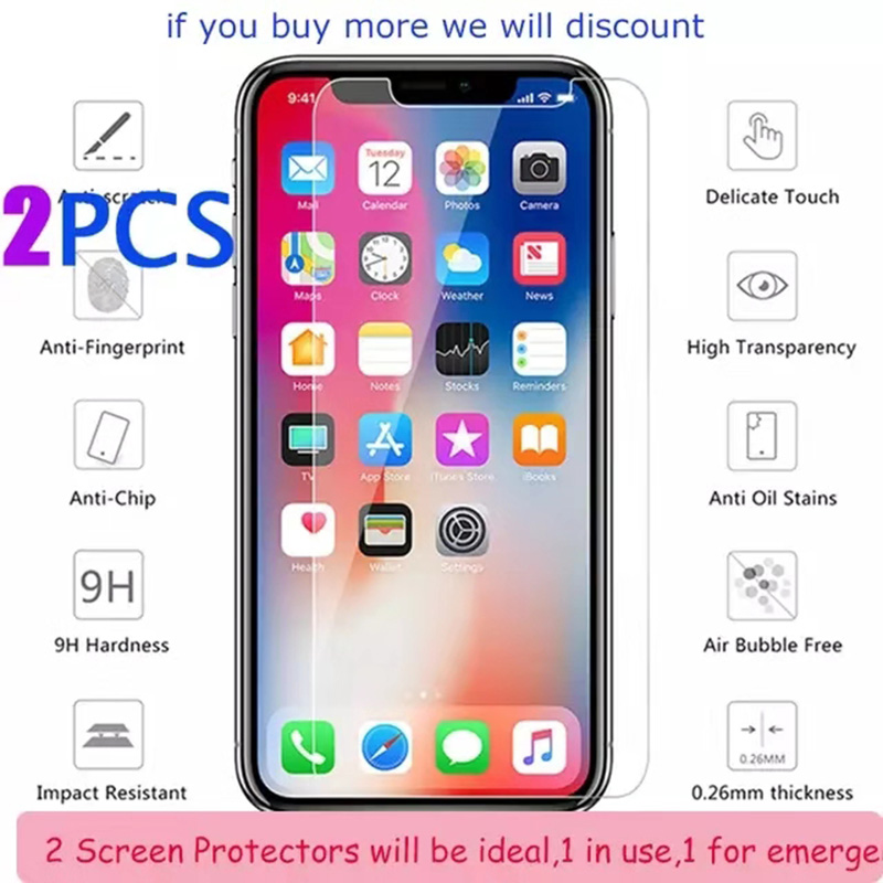 Protective Glass For iPhone XS XR XS MAX Tempered Glass Screen Protector Cover For iPhone 8 X 7 6 6S Plus 5 5S SE XS 6 1 6 5 5 8 in Phone Screen Protectors from Cellphones Telecommunications