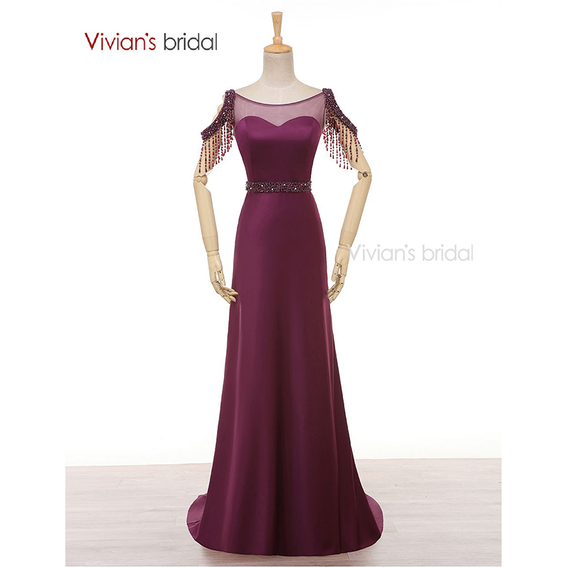 Vivian's Bridal A Line Evening Gown Boat Neck Satin Crystal Beading Purple Evening Dresses Long ED280