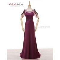 Vivian's Bridal A Line Evening Gown Boat Neck Satin Crystal Beading Purple Evening Dresses Long ED280