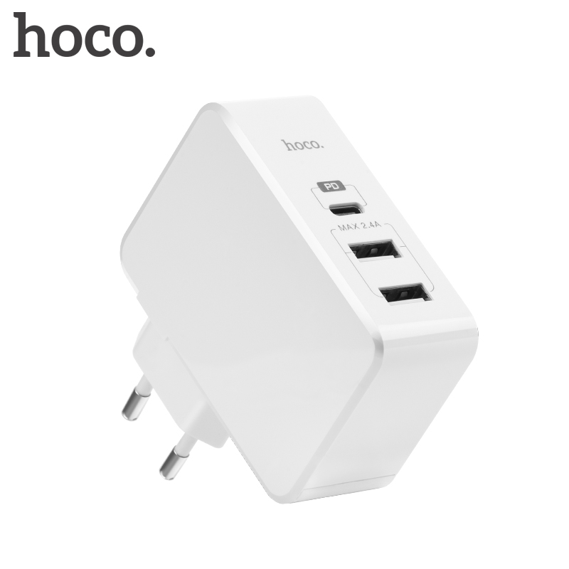 HOCO 30W USB Type C Charger Fast Type-C Wall Charger Adapter QC 3.0 Dual USB Charger for Apple iPhone X 8 Plus Xiaomi PD Charger