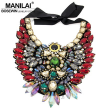 Popular in Europe and worldwide selling Luxury Crystal Necklace New Owl Design Collar Statement Necklaces & Pendants  CE2539