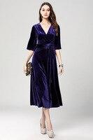 Nuova moda 2017 donne primavera estate purple velvet dress per le donne dell'annata sexy sera celebrity party dress con i telai