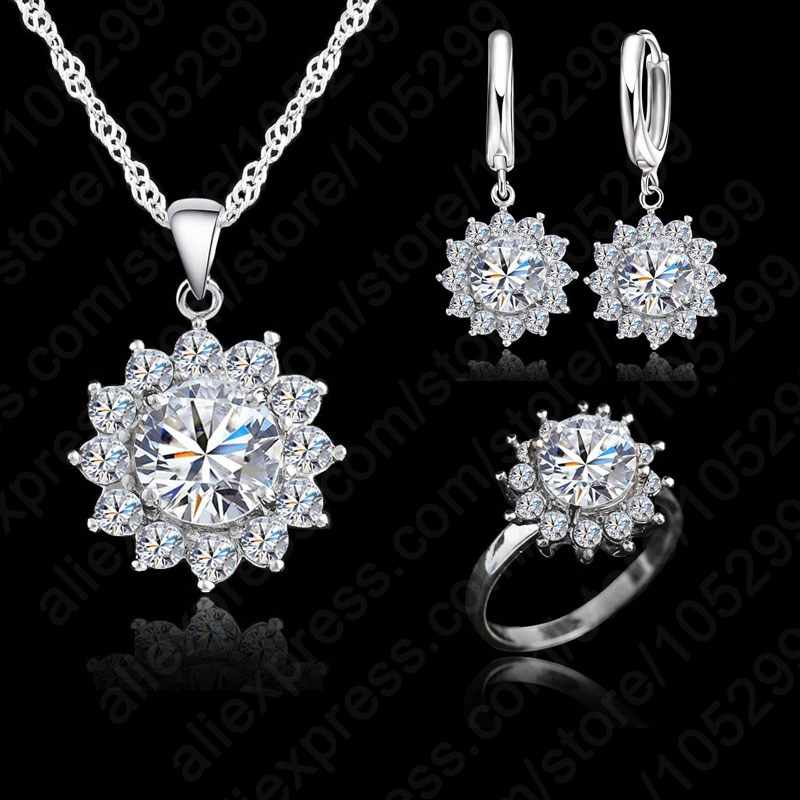 Valentine Day Gift Sun Flower Cubic Zirconia 925 Sterling Silver  Jewelry Sets Earrings Pendant Necklace Rings Size5-9